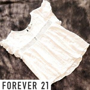 FOREVER 21 white eyelet lace cap sleeve blouse